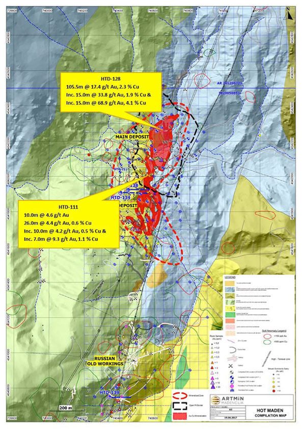 Figure 1: Geology map and drill hole locations, Hot Maden Project
